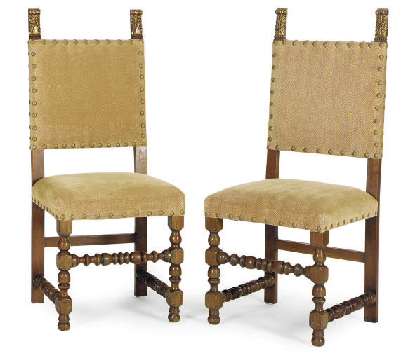 A PAIR OF WALNUT AND PARCEL-GI