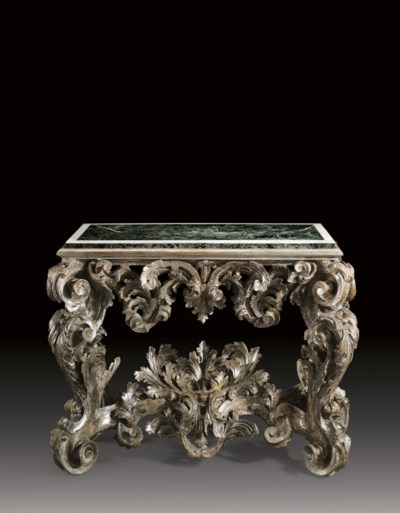 AN ITALIAN SILVERED WOOD CONSO