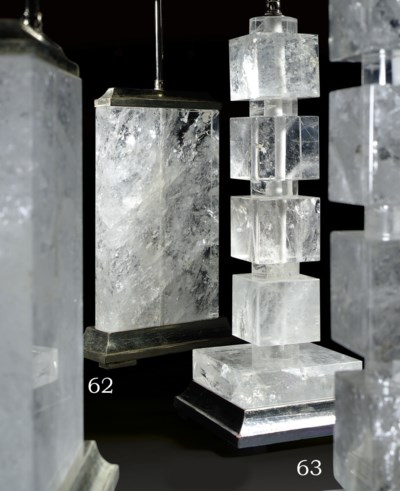 A PAIR OF ROCK CRYSTAL TABLE L