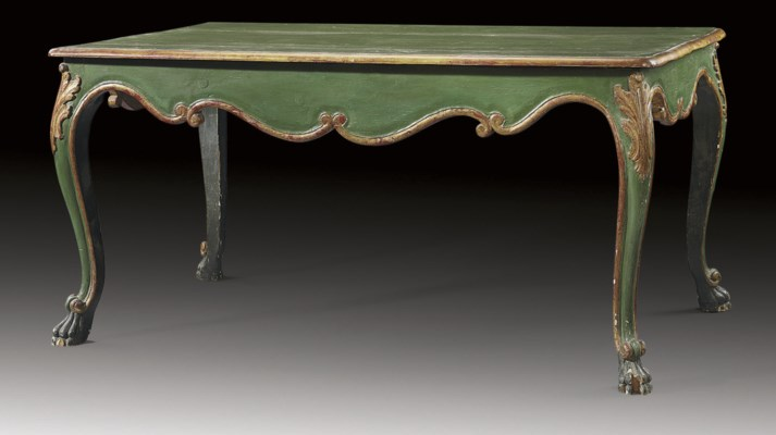 AN ITALIAN GREEN-PAINTED AND P