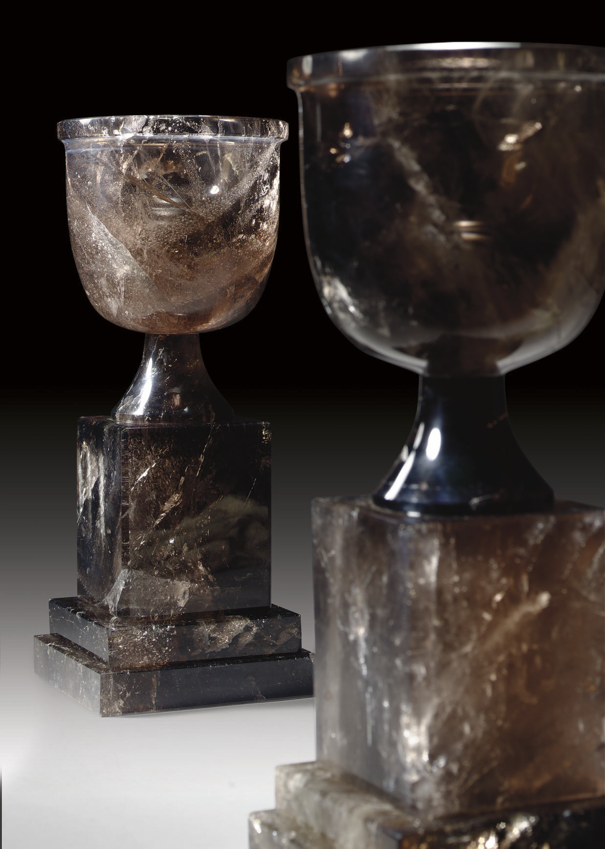 A PAIR OF SMOKY ROCK CRYSTAL T