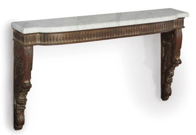 A CARVED OAK CONSOLE TABLE