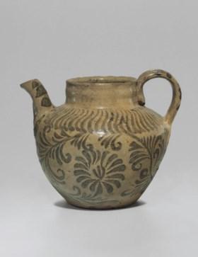 An Iron-decorated Celadon Stoneware Ewer