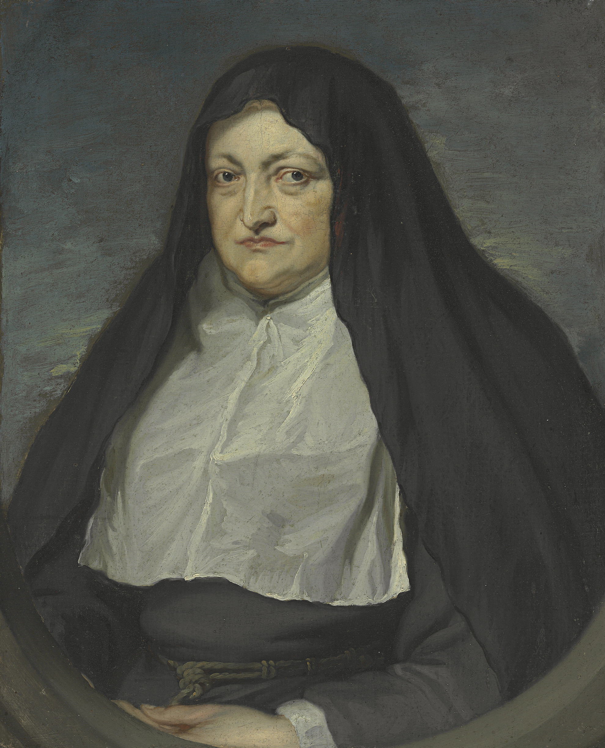Portrait of Archduchess Isabella Clara Eugenia, Regent of the Southern Netherlands (1566-1633), half-length, as a nun, in a painted oval