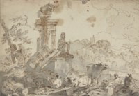 An Italianate landscape with classical ruins, sheep, cows and shepherds in the foreground