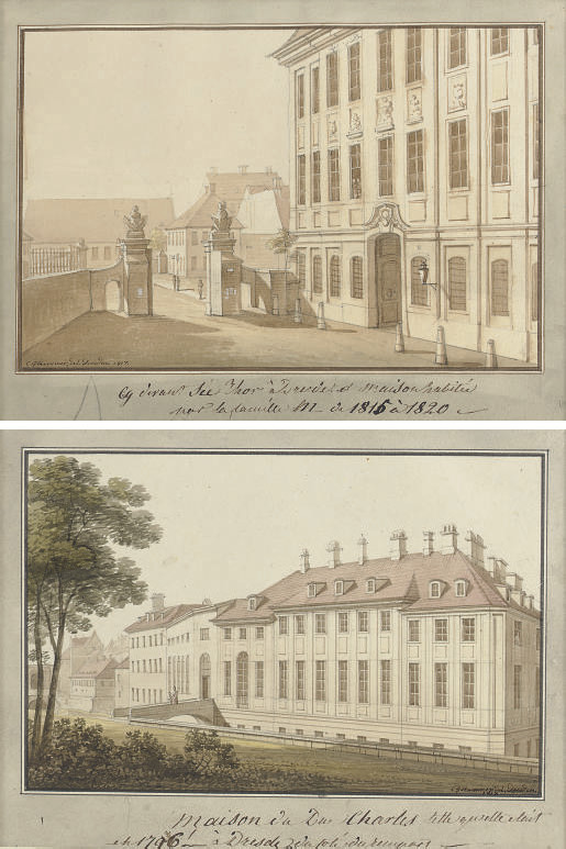A view of the rear of the Palace of Prince Karl of Kurland, Dresden; and A view of the Minister Hotel in the Seegasse, Dresden