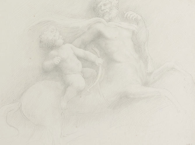Young Hercules and Chiron; Two studies of a young child resting her head in her hands; A portrait of a man with a moustache, in profile to the right