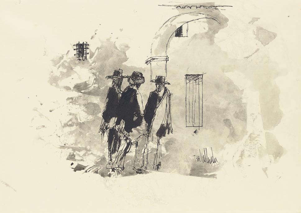 Three men wearing hats standing outside an archway