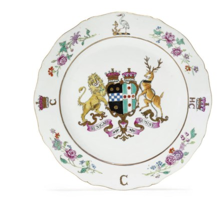 A FAMILLE ROSE ARMORIAL PLATE
