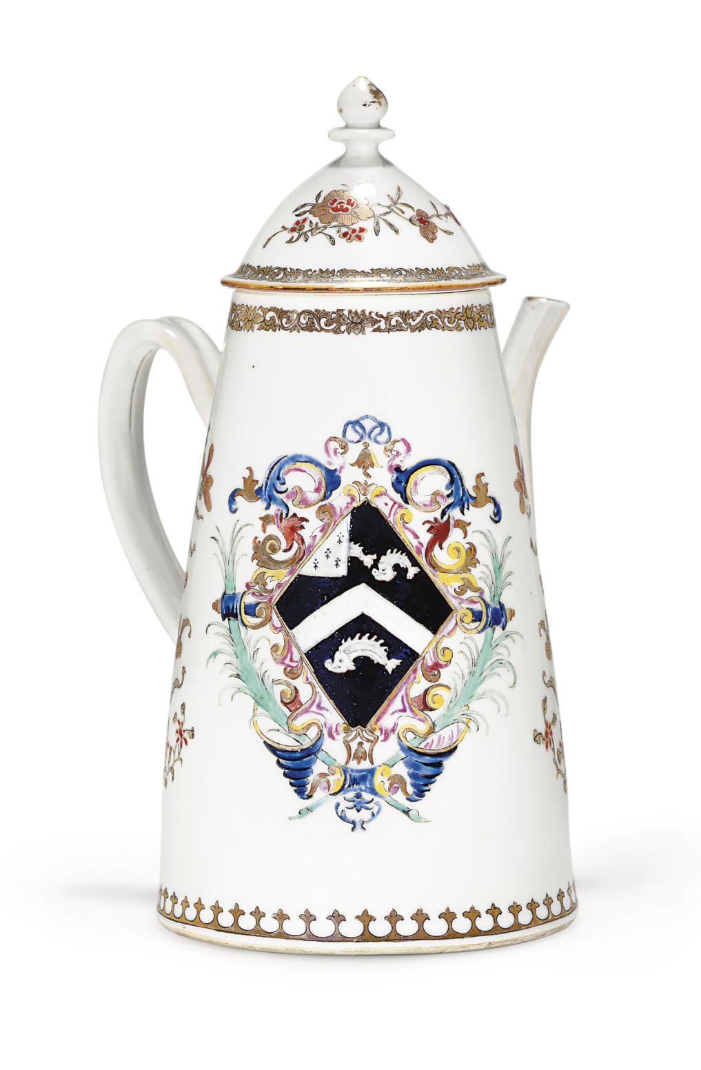 AN ARMORIAL COFFEE-POT AND COV