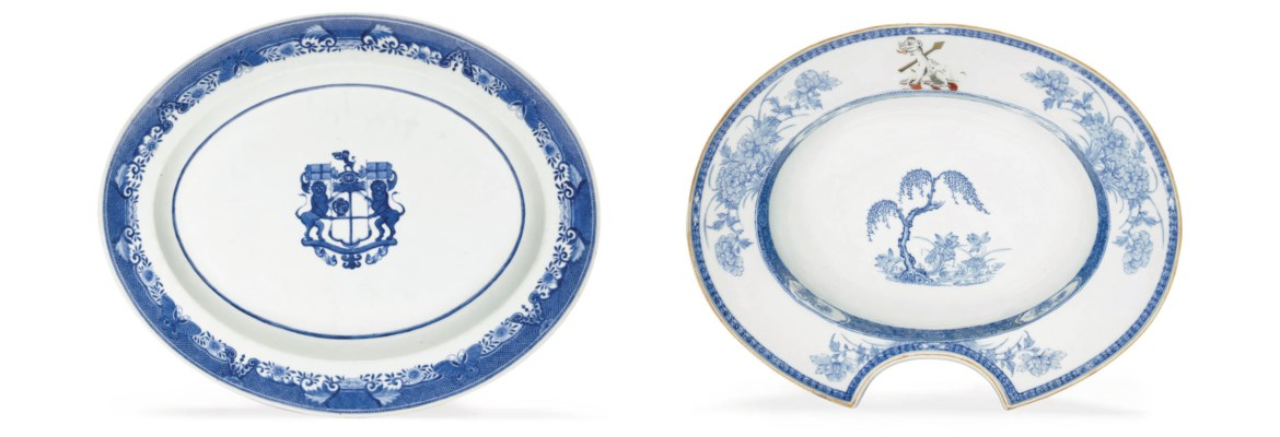 TWO BLUE AND WHITE ARMORIAL WA