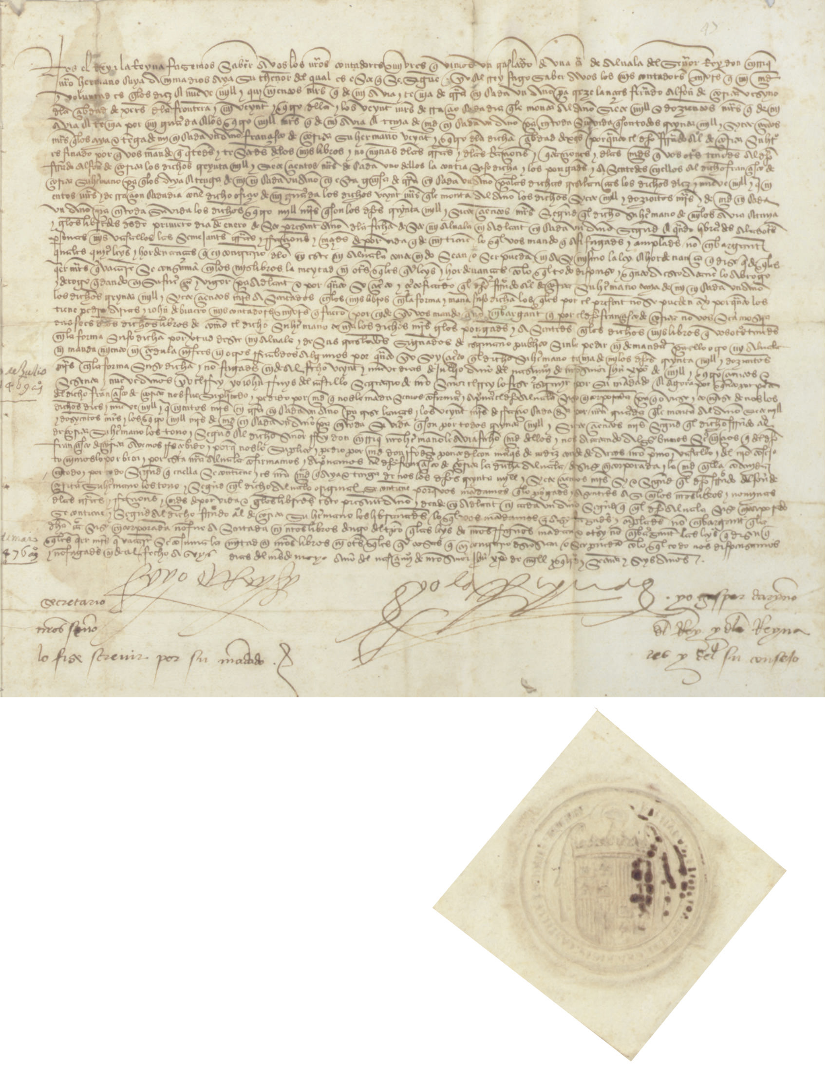 "FERDINAND V (1452-1516), King of Spain, and ISABELLA I (1451-1504), Queen of Spain. Letter signed (""Yo el rey,"" and ""Yo la reina,"" each with a large penwork flourish), Segovia(?), 6 May 1476."