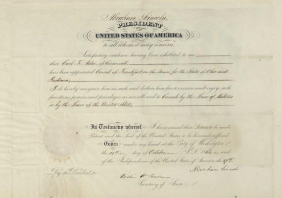 LINCOLN, Abraham, President. E