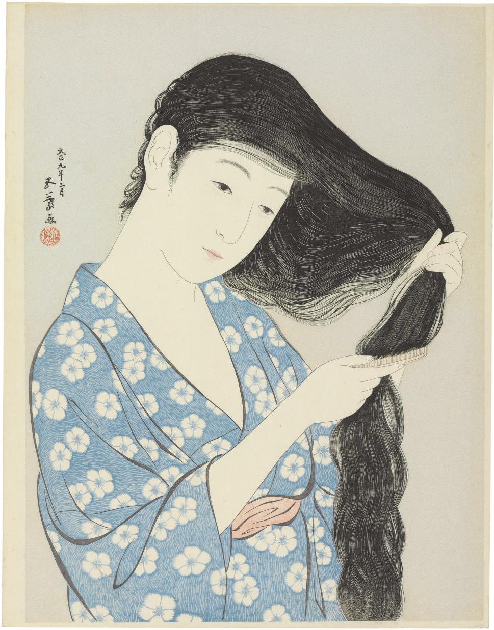 Woman brushing her hair, 1920.3  Kyoto Sanjo Ohashi (Great Bridge at Sanjo, Kyoto), 1920.1