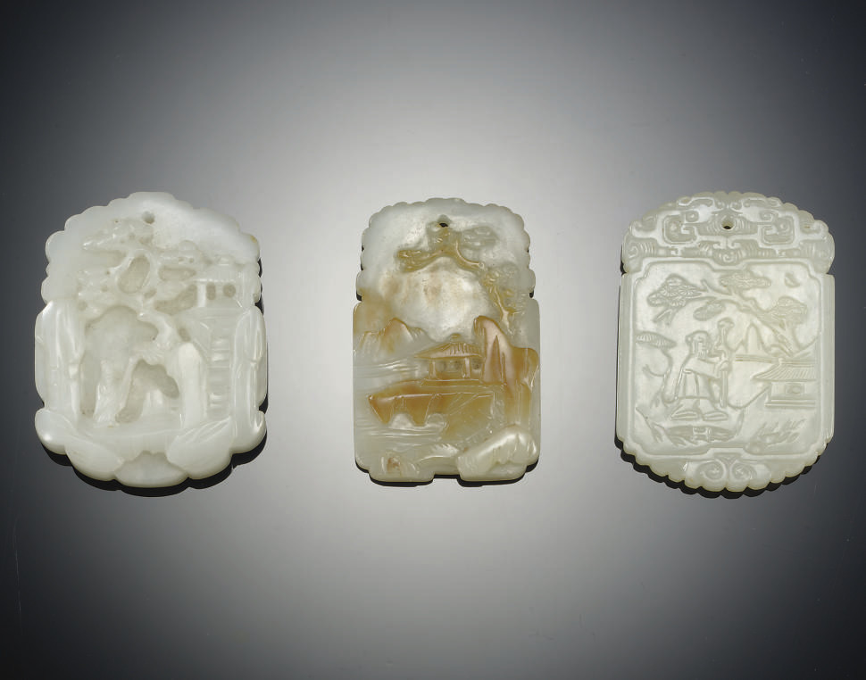 THREE WHITE JADE  RECTANGULAR