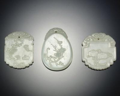 THREE WHITE JADE PENDANTS