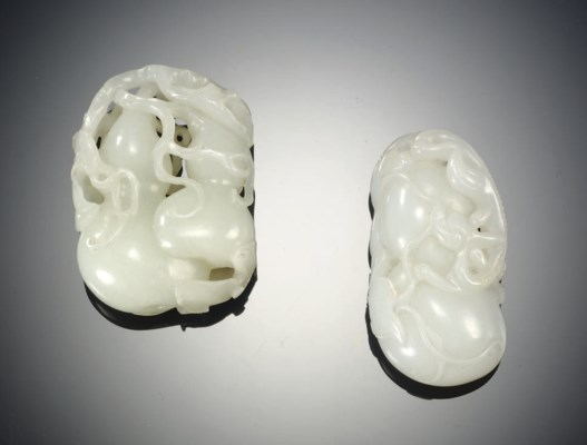 TWO WHITE JADE CARVINGS OF DOU