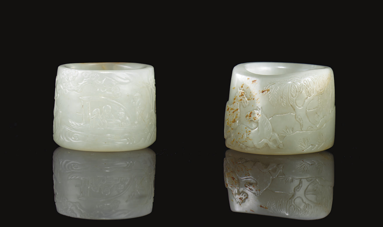 TWO WHITE AND RUSSET JADE THUM