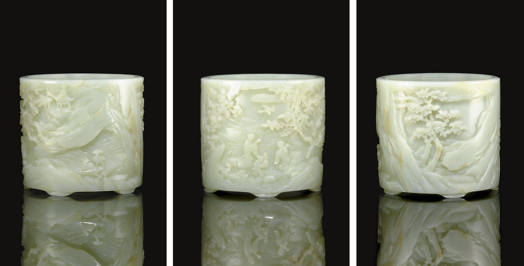 A MAGNIFICENT WHITE JADE BRUSH