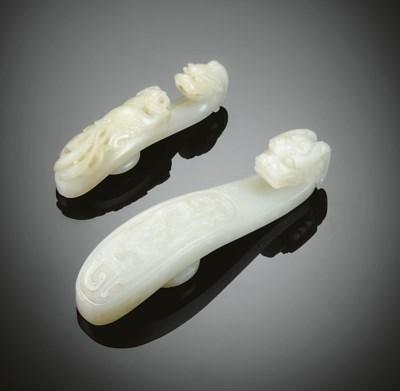 TWO WHITE JADE BELT HOOKS