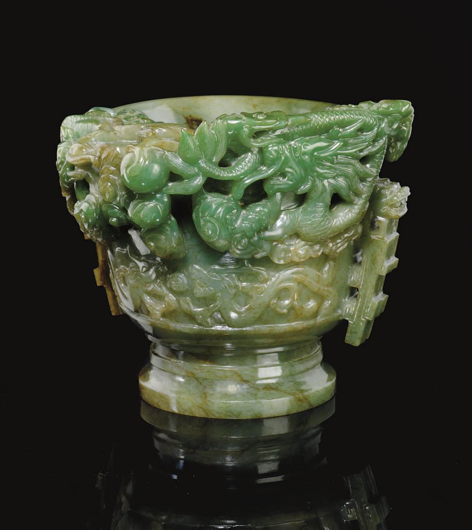 AN UNUSUAL MOTTLED GREEN JADE