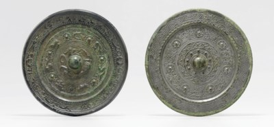 TWO BRONZE MIRRORS