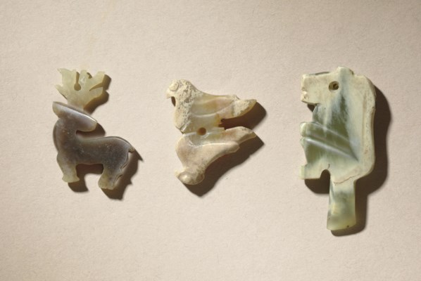 THREE SMALL JADE ANIMAL PENDAN