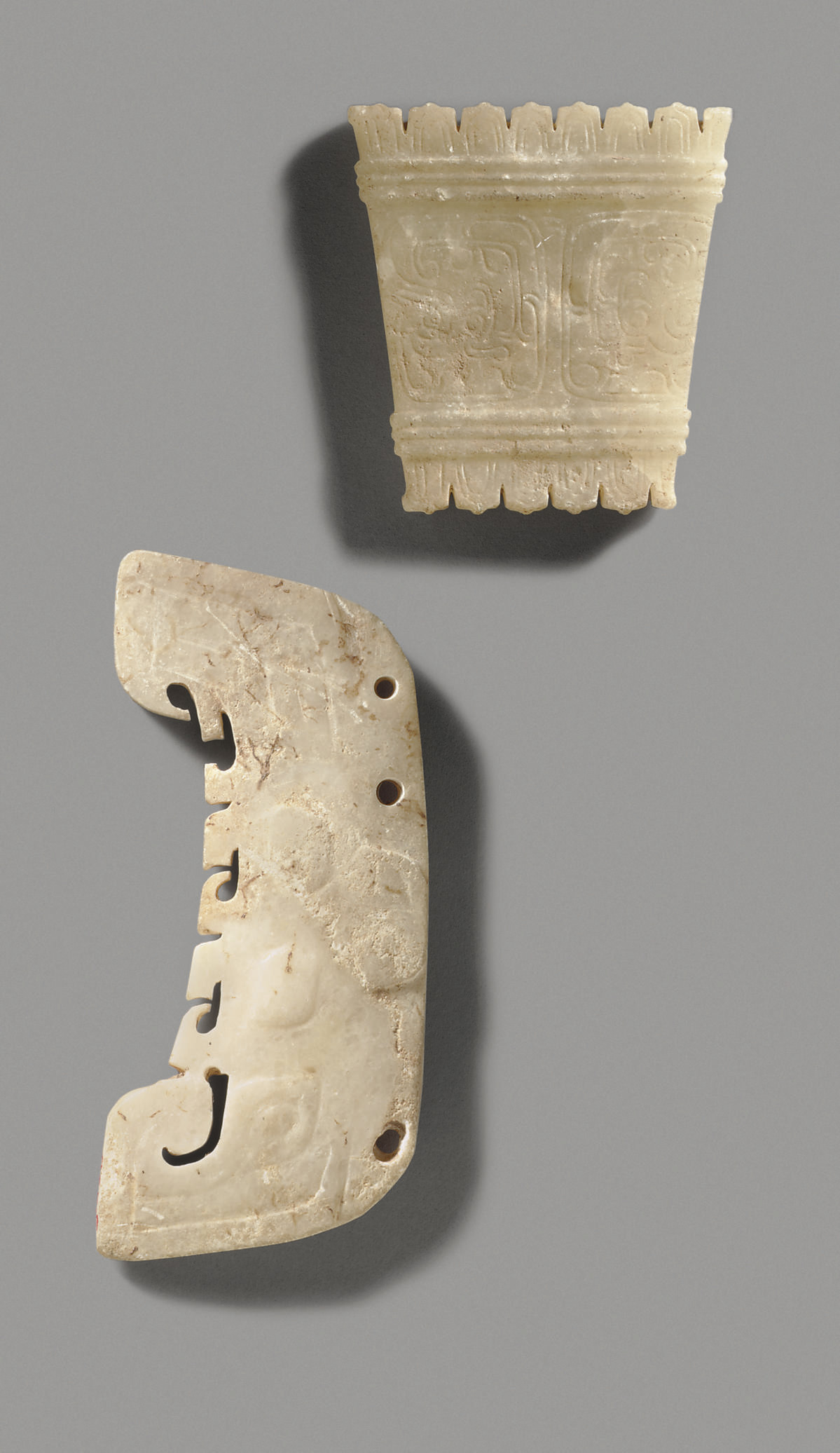 A RARE MARBLE TAOTIE MASK-FORM