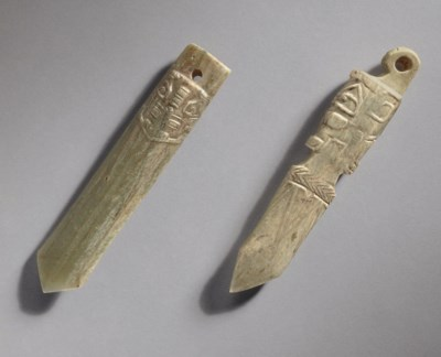TWO THICK JADE DAGGER-FORM PEN