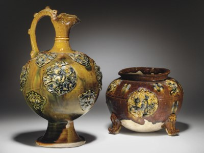 TWO SANCAI-GLAZED POTTERY MEDA
