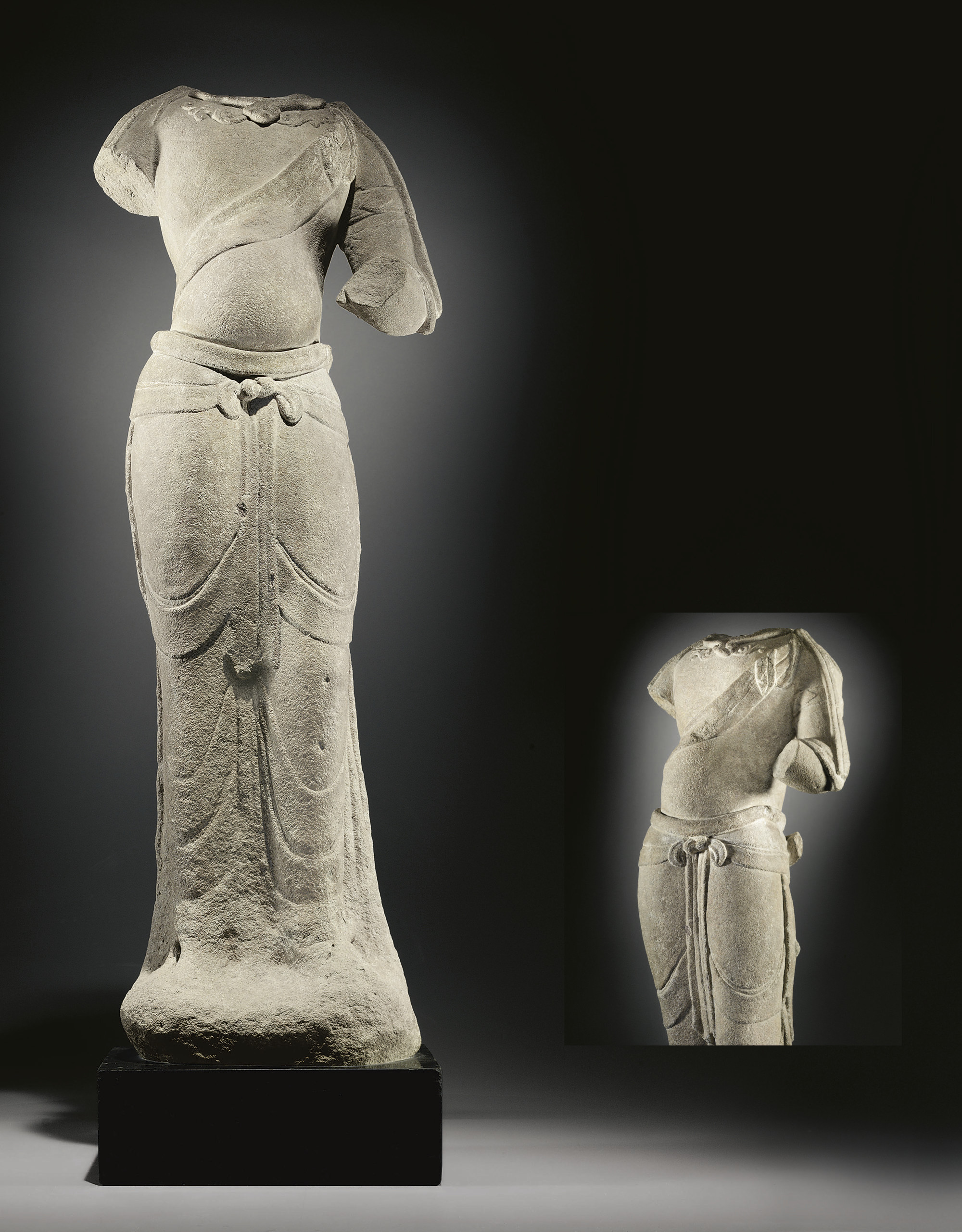 A SANDSTONE FIGURE OF A BODHIS