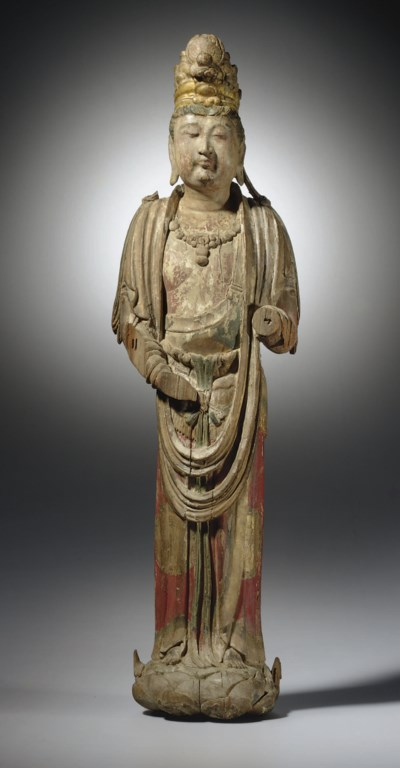 A PAINTED WOOD FIGURE OF A BOD