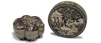 TWO MOTHER-OF-PEARL INLAID BLA