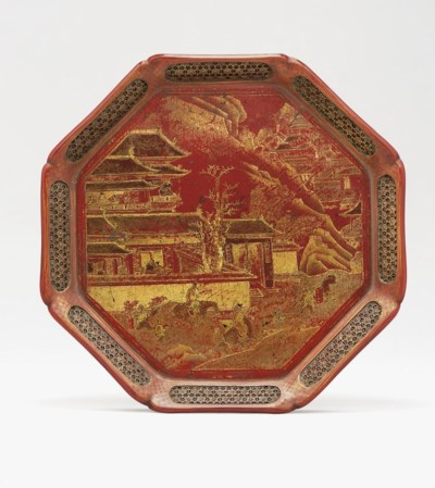 AN UNUSUAL PAINTED RED LACQUER