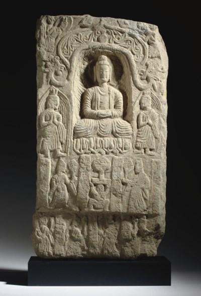 A PINKISH SANDSTONE BUDDHIST S