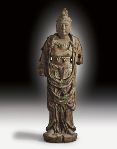 A LARGE PAINTED WOOD FIGURE OF