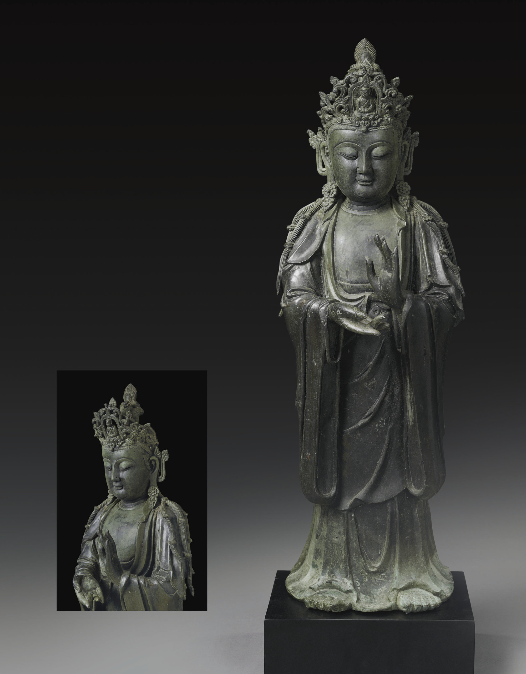 A LARGE BRONZE FIGURE OF AVALO