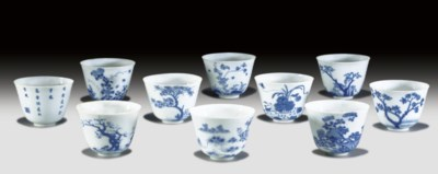 TEN BLUE AND WHITE 'MONTH' CUP
