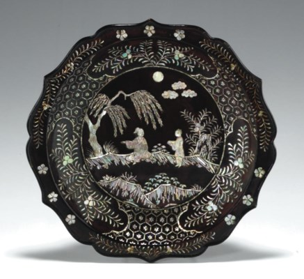 A MOTHER-OF-PEARL-INLAID LACQU