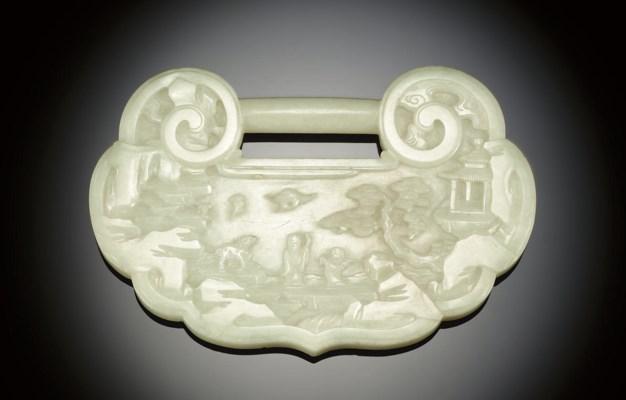 A WHITE JADE LOCK-FORM PLAQUE