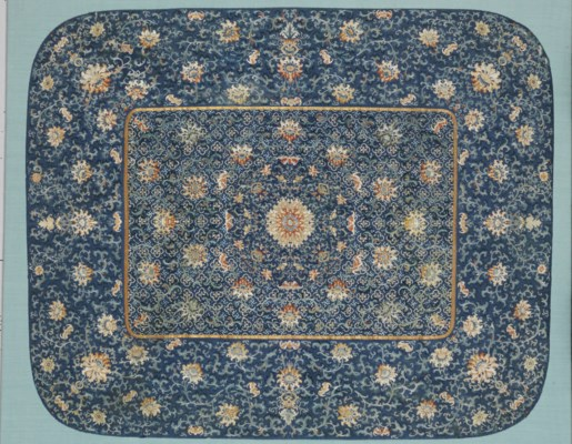 A LARGE EMBROIDERED BLUE SILK