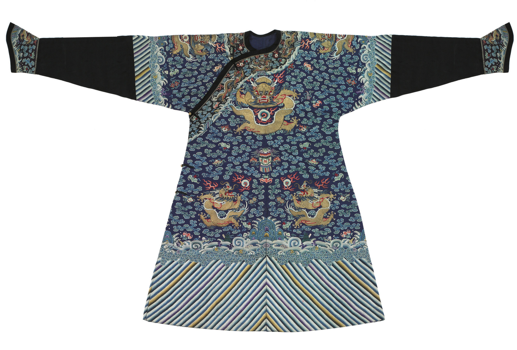 AN EMBROIDERED BLUE SILK DRAGO