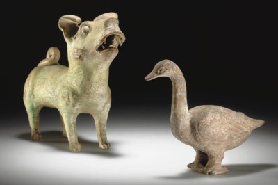 TWO POTTERY FIGURES OF ANIMALS