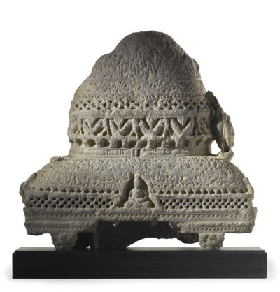 A gray schist stupa relief