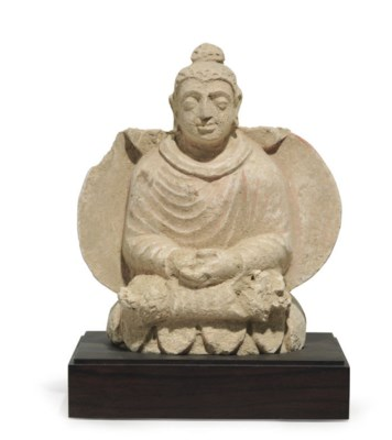 A stucco figure of Buddha