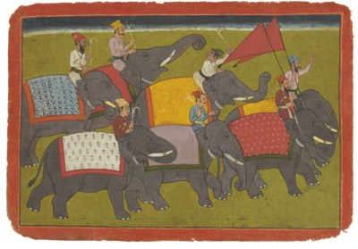A painting of a procession of
