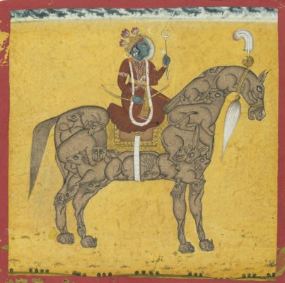A painting of Krishna on a com