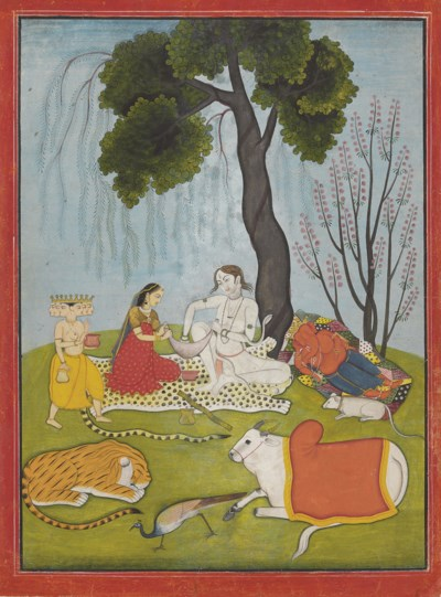 A painting of Shiva and Parvat