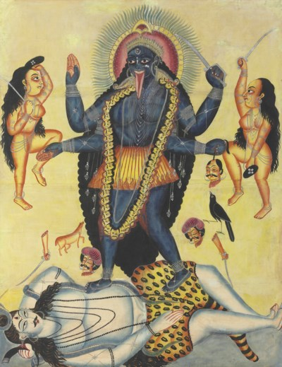 A large kalighat painting of K