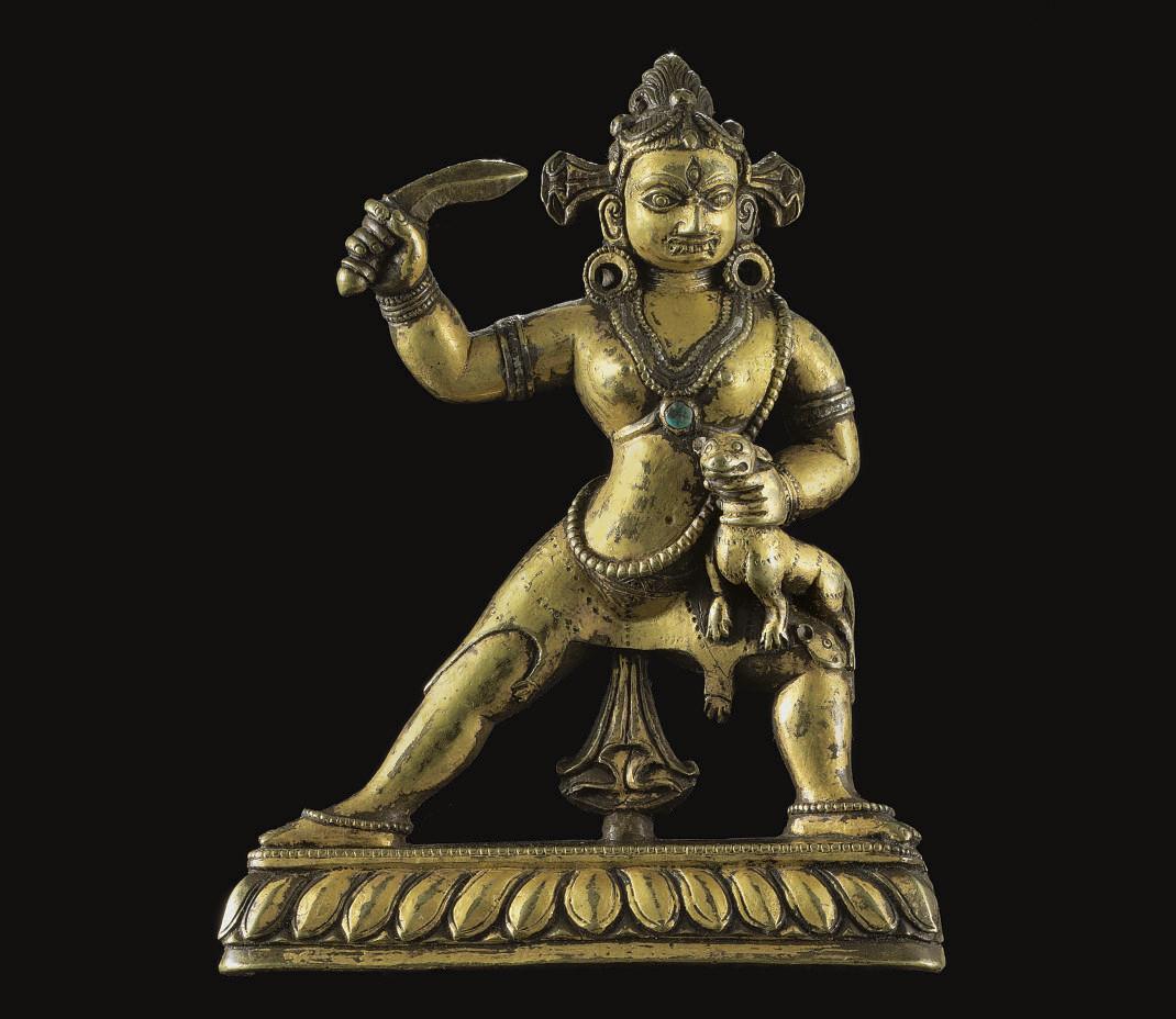 An unusual gilt bronze figure